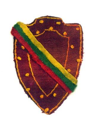 Šiaurės Rytų Lietuvos srities Vytauto apygardos partizano skiriamasis antsiuvas. LYA nuotrauka