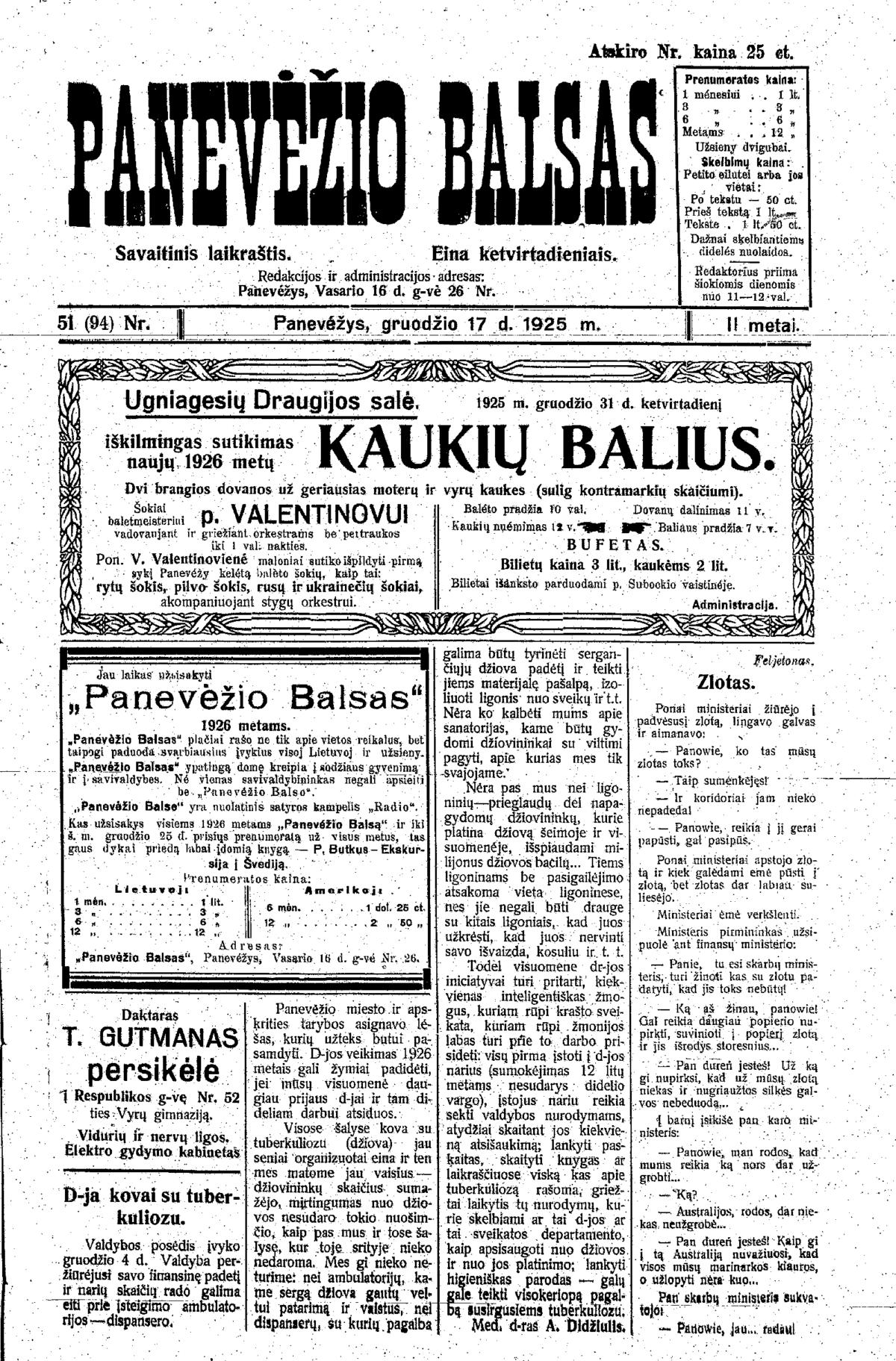 """""""Panevėžio balso"""" numeris, išleistas prieš 1925-ųjų šv.Kalėdas."""