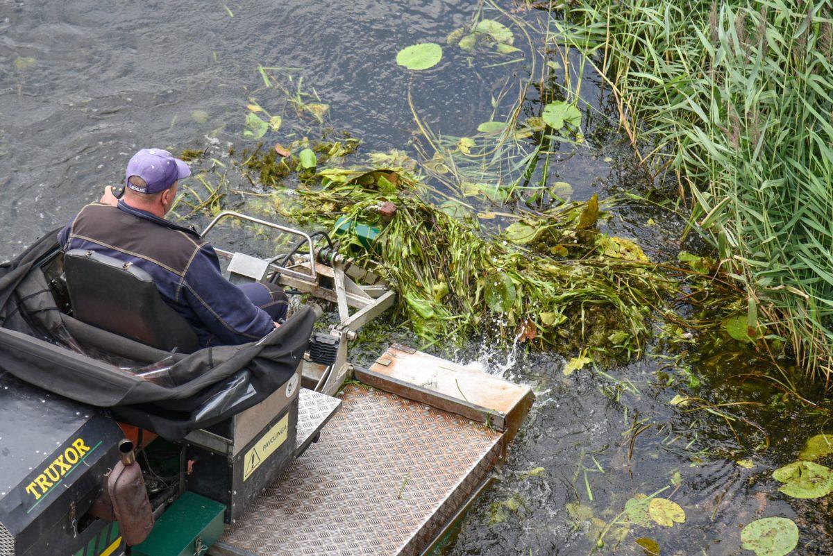 Kol panevėžiečių amfibija ožiuojasi, Nevėžį baigia šienauti kauniečiai. P. Židonio nuotr.