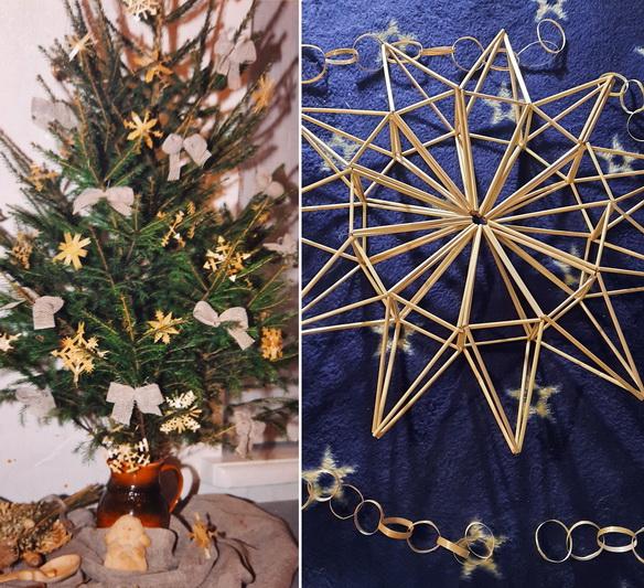 Danutės Palaimienės Kalėdų eglutė puošiama jos rankomis sukurtais šiaudiniais papuošalais. ASMENINIO ARCHYVO nuotr.