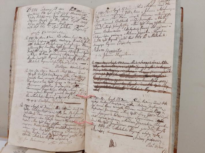 Senosios bažnytinės knygos mirga įrašais įvairiomis kalbomis. Ir dažnos jų prabyla tik į tuos, kurie žino, kaip ir ko jose ieškoti. N. ČEŠKEVIČIŪTĖS nuotr.