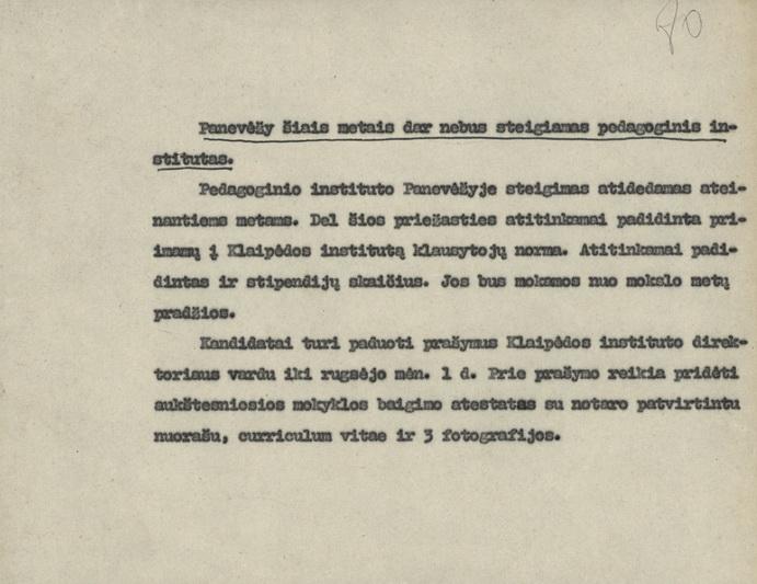 Švietimo ministerijos pranešimas spaudai apie pedagoginio instituto Panevėžyje steigimo atidėjimą 1936 metų liepos 4 dieną. LIETUVOS CENTRINIO VALSTYBĖS ARCHYVO nuotr.