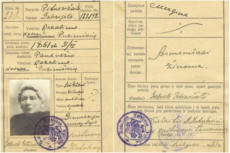 Gabrielei Petkevičaitei 1920 metų liepos 24 dieną išduoto vidaus paso kortelė. LIETUVOS LITERATŪROS IR MENO ARCHYVO nuotr.