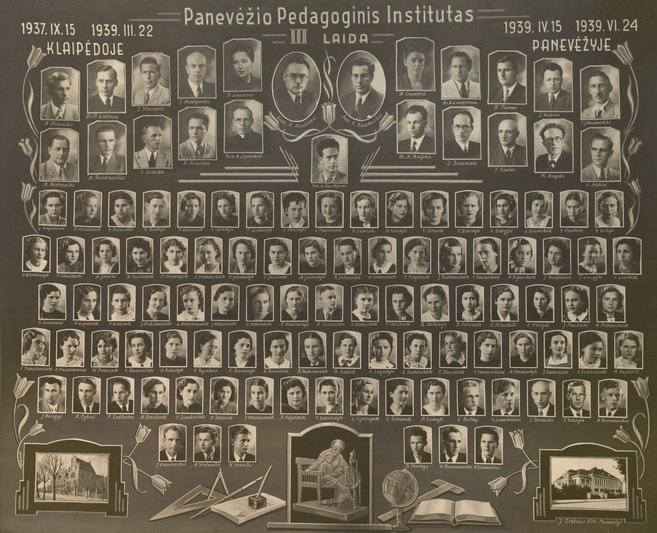 Pedagoginio instituto III laidos vinjetėje – ir Lietuvos partizanų vado, brigados generolo Adolfo Ramanausko-Vanago fotografija (dešinėje apačioje). 1939-aisiais institutą iš Klaipėdos perkėlus į Panevėžį, mokytojo diplomą jis gavo jau čia. A. RAMANAUSKAITĖS-SKOKAUSKIENĖS ASMENINIO ARCHYVO nuotr.
