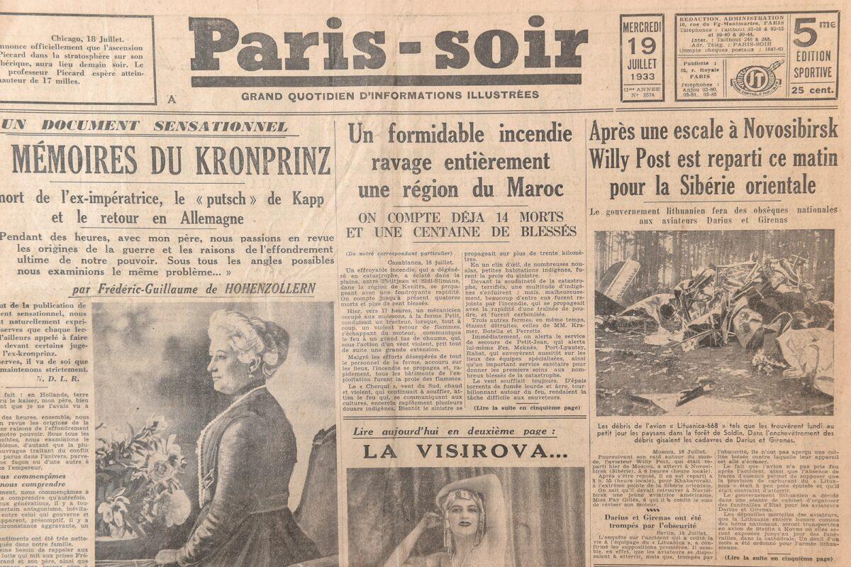 """Dienraštis """"Paris-soir"""", 1933 m. liepos 19 d. Dešinėje – žinutė apie tragiškai pasibaigusį lietuvių lakūnų Stepono Dariaus ir Stasio Girėno skrydį per Atlantą. G. Kartano nuotr."""