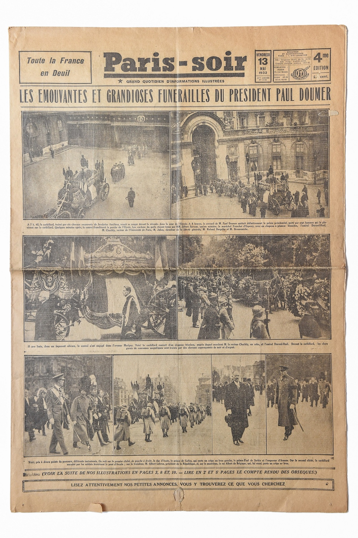 """Reportažas apie 1932 m. gegužės 7 d. tragiškai žuvusio 1931–1932 m. Prancūzijos prezidento Polio Dumero (Paul Doumer) laidotuves. Dienraštis """"Paris-soir"""", 1932 m. gegužės 13 d. G. Kartano nuotr."""