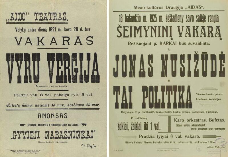 """""""Aido"""" draugijos teatro vakaro afišos – 1921-ųjų ir 1925 metu. LIETUVOS LITERATŪROS IR MENO ARCHYVO FONDŲ nuotr."""