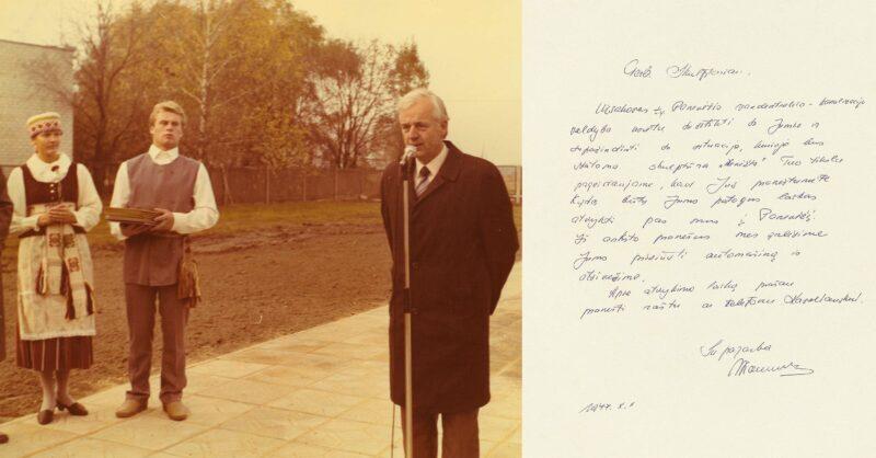 Panevėžio teritorinės vandentiekio ir kanalizacijos valdybos viršininką Algimantą Naruševičių skulptorius vadino žmogumi, išgelbėjusiu jo kūrinį nuo košmaro. Dešinėje – A. Naruševičiaus laiškas Bernardui Bučui. NIJOLĖS ONOS NARUŠEVIČIENĖS ŠEIMOS ALBUMO IR SALOMĖJOS NĖRIES MEMORIALINIO MUZIEJAUS RINKINIŲ nuotr.