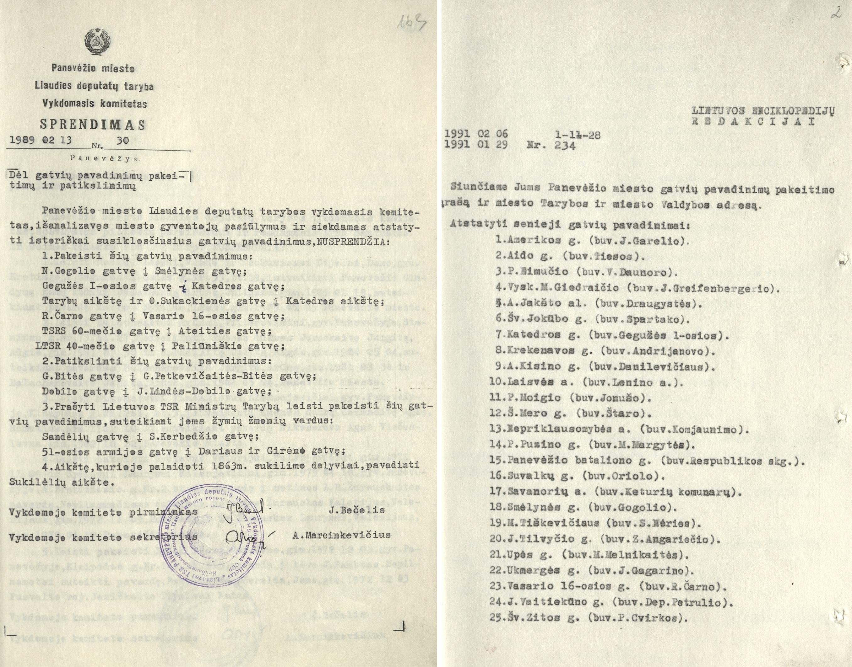 Atgimimo ir Nepriklausomybės laikų dokumentai, grąžinę daugeliui Panevėžio gatvių istorinius pavadinimus. ŠIAULIŲ REGIONINIO VALSTYBĖS ARCHYVO PANEVĖŽIO FILIALO nuotr.