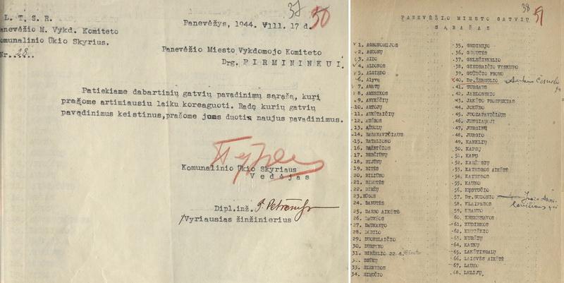 Panevėžio miesto vykdomojo komiteto Komunalinio ūkio skyriaus miesto vykdomojo komiteto pirmininkui 1944-aisiais pateiktas gatvių pavadinimų sąrašas su okupacinei valdžiai parankiomis korekcijomis. ŠIAULIŲ REGIONINIO VALSTYBĖS ARCHYVO PANEVĖŽIO FILIALO nuotr.