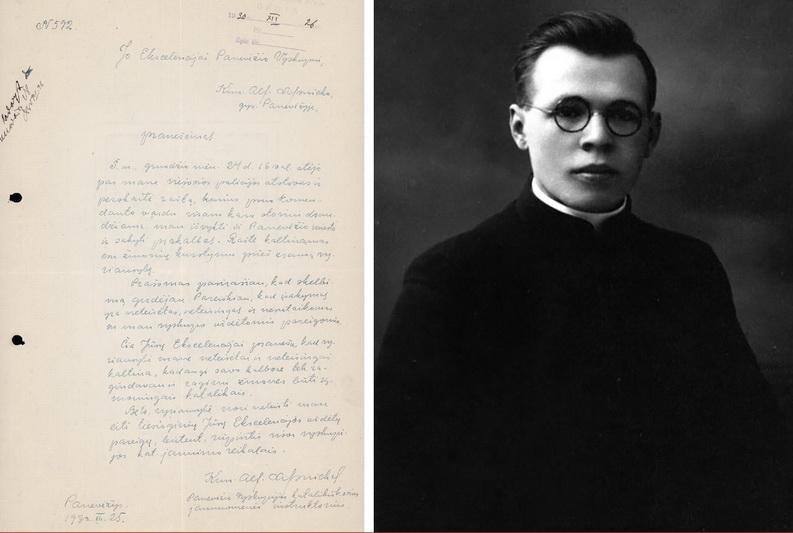 1930 metų gruodžio 25-osios dienos kunigo Alfonso Lipniūno pranešimas Panevėžio vyskupui Kazimierui Paltarokui. Dokumente atsispindi jauno kunigo drąsa ir pozicija Lietuvos valdžios įvesto karo padėties režimo sąlygomis. G. KARTANO nuotr.