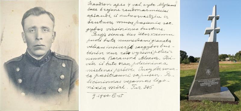 Iš Krekenavos valsčiaus Butrimonių kaimo kilęs pasienietis, Šaulių sąjungos narys Aleksandras Barauskas tapo pirmąja sovietų okupacijos auka. Viduryje – telegrama Lietuvos pasiuntinybei Maskvoje, kurioje pranešama apie Raudonosios armijos karių įvykdytą Lietuvos pasienio policijos sargybos būstinės Ūtoje apšaudymą ir A. Barausko žūtį. Dešinėje – kryžius ir atminimo ženklas 1940 metų birželio 15 dieną 2-osios Ūtos pasienio sargybos būstinėje mirtinai sužeistam šios sargybos viršininkui. LCVA, Lietuvos gyventojų genocido ir rezistencijos tyrimo centro nuotrauka