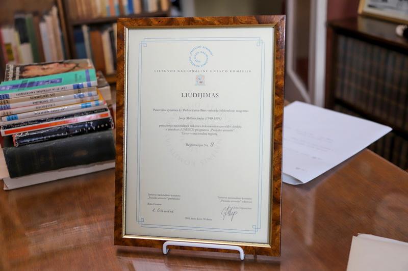 """2006 metais Juozo Miltinio fondas buvo įtrauktas į UNESCO programos """"Pasaulio atmintis"""" Lietuvos nacionalinį registrą. I. STULGAITĖS-KRIUKIENĖS nuotr."""