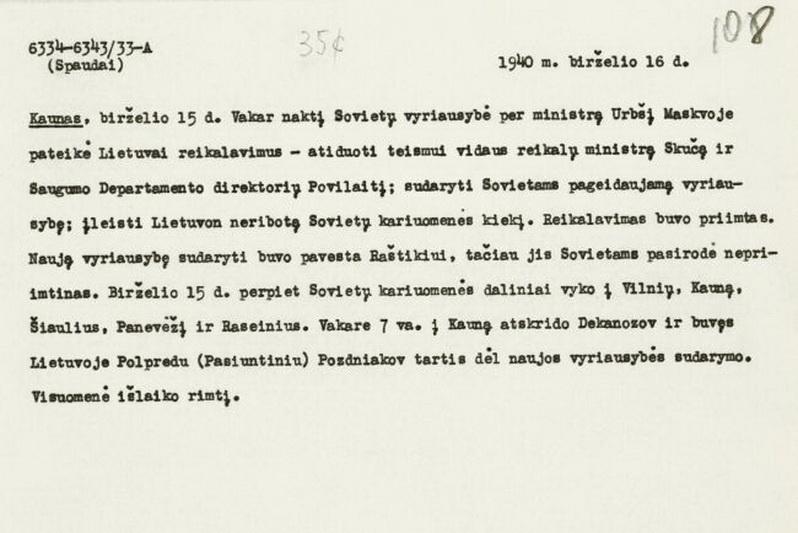 Lietuvos vyriausybės birželio 16 dienos pareiškimas spaudai apie TSRS birželio 14-osios ultimatumo priėmimą. LCVA nuotr.