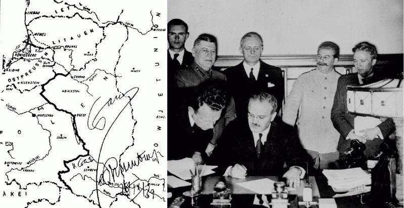 1939 metų rugpjūčio 23 diena, Maskva. Nacistinės Vokietijos ir SSRS užsienio reikalų ministrai Joachimas fon Ribentropas ir Viačeslavas Molotovas pasirašo ne tik paktą – nepuolimo sutartį, bet ir slaptus protokolus, kuriais abi šalys pasidalijo Vidurio ir Rytų Europą. LCVA nuotr.