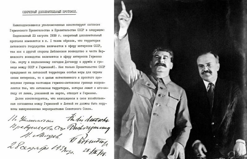 Molotovo ir Ribentropo paktas, sudarytas Stalino ir Hitlerio iniciatyva, buvo vienas ciniškiausių XX amžiaus politinių suokalbių. Nuotraukoje dešinėje – Josifas Stalinas su Viačeslavu Molotovu. Kairėje – slaptas papildomas protokolas prie Vokietijos ir TSRS 1939 metų rugsėjo 28 dienos draugystės ir sienos sutarties, kuriuo pakeistas rugpjūčio 23-iąją pasirašytas toks pat slaptas protokolas ir nulemta Lietuvos ateitis: dokumente nurodoma, kad Lietuvos valstybės teritorija vis dėlto patenka į Sovietų Sąjungos įtakos sferą. LCVA nuotr.