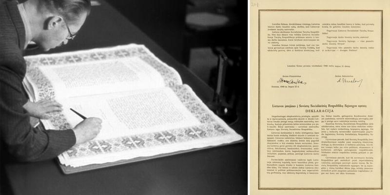 Vidaus reikalų ministras Mečislovas Gedvilas Kaune pasirašo Liaudies seimo 1940 metų liepos 21 dienos deklaraciją, pritariančią Lietuvos prijungimui prie TSRS. LCVA nuotr.