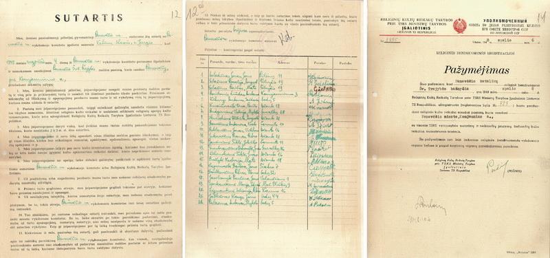 Panevėžio Švč. Trejybės bažnyčios perdavimo tikintiesiems sutartis. 1948 metų rugpjūčio 4 diena. Nuotraukoje dešinėje – pora dienų vėliau pasirašytas bažnyčios religinės bendruomenės registracijos pažymėjimas. LIETUVOS CENTRINIO VALSTYBĖS ARCHYVO nuotr.