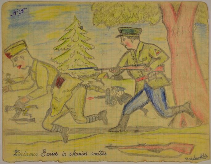 """Karikatūra """"Linksmos geros ir skanios vaišės"""". Autorius – Lietuvos Laisvės Armijos Didžiosios Kovos rinktinės 5-ojo bataliono vadas, apygardos štabo viršininkas Jonas Markulis-Vaiduoklis – ją nupiešė 1945-aisiais, savo žūties metais. LYA nuotr."""