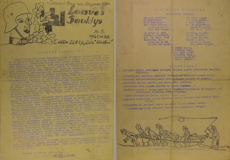 """Partizanų piešiniais apipavidalintas Lietuvos Laisvės Armijos 1-osios Liūto rinktinės leidinys """"Laisvės Šauklys"""". 1947-ųjų kovas. LYA nuotr."""