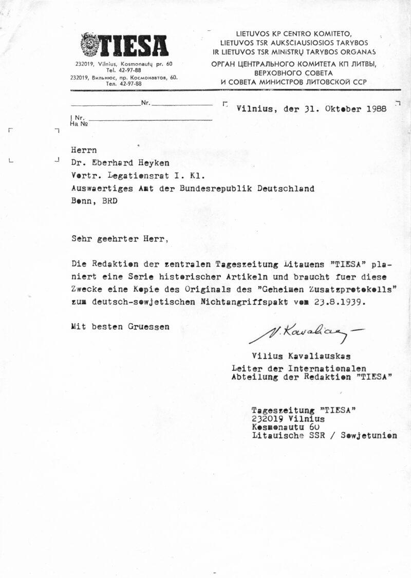 Laiškas tuometės Vakarų Vokietijos užsienio reikalų ministerijai. V. KAVALIAUSKO ARCHYVO nuotr.