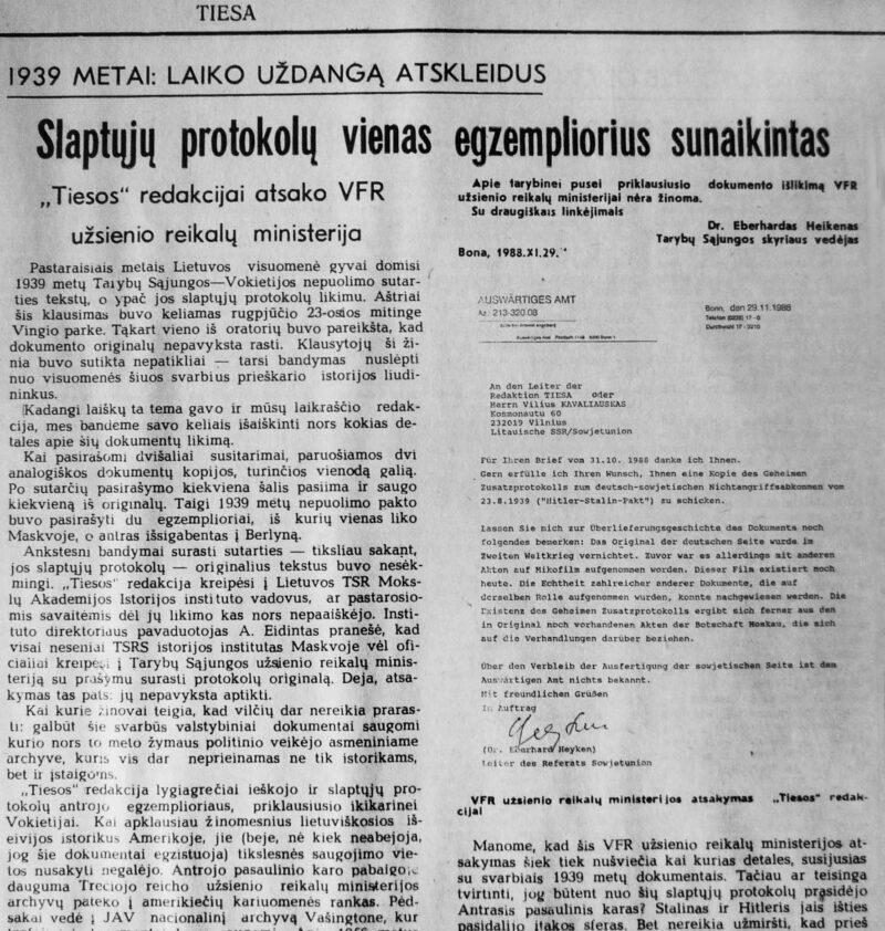 """Bombos sprogimui prilygęs 1988 metų gruodžio 22-osios """"Tiesos"""" numeris. Jeigu ne Vakarų Vokietijos užsienio reikalų ministerijos patvirtinantis laiškas su dokumentais, publikaciją apie slaptuosius protokolus, Viliaus Kavaliausko spėjimu, sovietinėje spaudoje jam vargu ar būtų pavykę išspausdinti. V. KAVALIAUSKO ARCHYVO nuotr."""