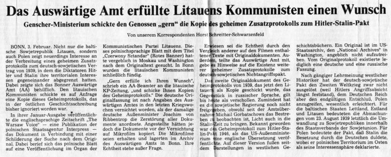 """Straipsnis dienraštyje """"Frankfurter Rundschau"""" pripažino faktą, kad tarybinio laikraščio kreipimasis į Vakarų Vokietijos valstybinę organizaciją buvo bene pirmas pokario istorijoje. V. KAVALIAUSKO ARCHYVO nuotr."""