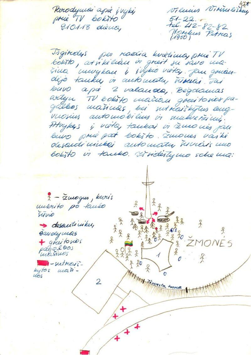 Archyvo fonduose – ir Vilniaus televizijos bokšto gynėjo Petro Norkaus braižyta schema, vaizduojanti 1991 metų sausio 13-osios įvykius. LVNA, f. 9, ap. 1, b.17, l. 47.